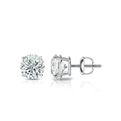 (Diamond Wish 18k White Gold Round Diamond Stud Earrings (3/4 cttw, G-H, VS2-SI1, IGI Certified) 4-Prong Basket set with Screw-Backs)