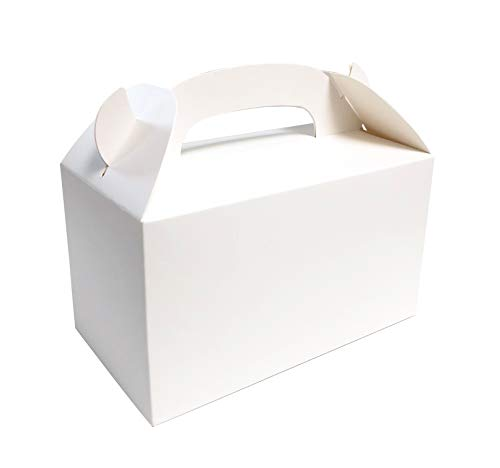 Monka Treat Boxes Plain White Party Favor Boxes 6.25X3.5X3.5 inches Pack of 24pcs Premium Grade Party Supplies Boxes, Thicken Material Favor Boxes, Kids Goodie Box for Birthday, Shower, Events ()