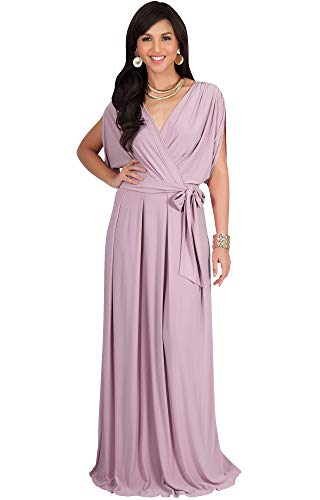 KOH KOH Petite Womens Long Formal Short Sleeve Cocktail Flowy V-Neck Casual Bridesmaid Wedding Party Guest Evening Cute Maternity Work Gown Gowns Maxi Dress Dresses, Dusty Pink S 4-6