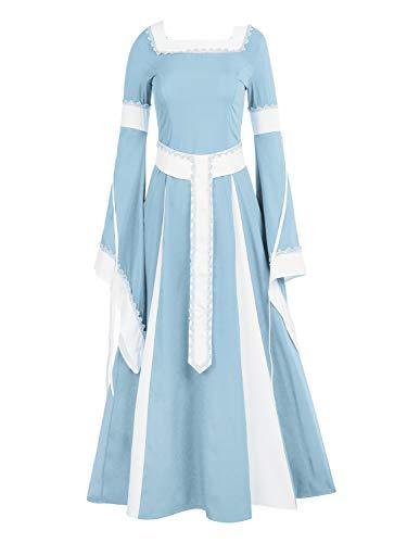 NiuBia Womens Deluxe Medieval Dress Renaissance Costumes Victorian Irish Over Long Dress Cosplay Retro -