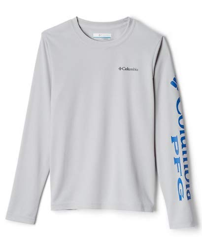 Columbia Boys' PFG Terminal Tackle Long Sleeve Tee , Cool Grey, Vivid Blue, X-Large