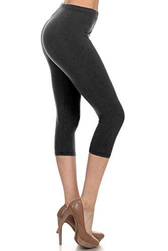 Leggings Depot Women's Popular Basic Capri Cropped Regular and Plus Solid High Waist Leggings (Regular (Size 0-12), Black)