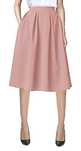Urban CoCo Women's Flared A line Pocket Skirt High Waist Pleated Midi Skirt (L, Pink)