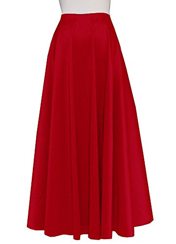 E K Women's long taffeta skirt Maxi evening formal cocktail ball floor length-XL-Red und by E K