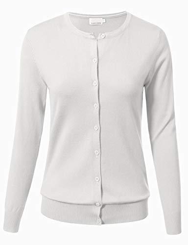 Women Button Down Long Sleeve Crewneck Soft Knit Cardigan Sweater M White