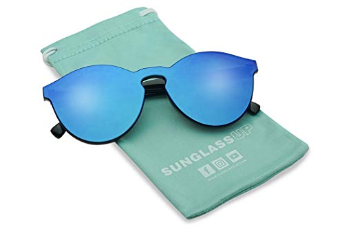 Round Futuristic Bold Frameless Shield Colored One Piece Pc Mirrored Lens Sunglasses (Black | Blue Mirror, 60) by SunglassUP
