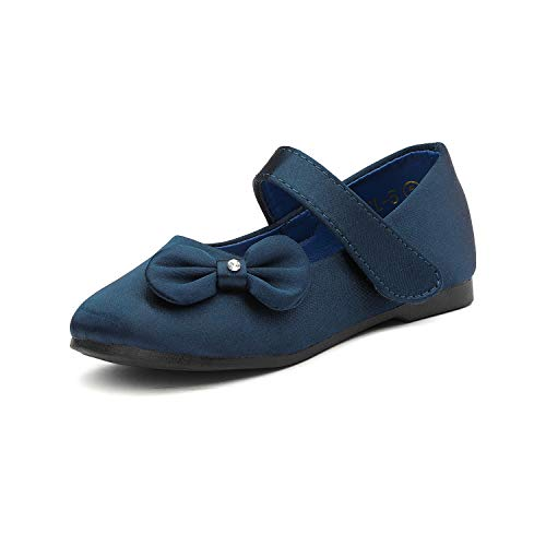 (DREAM PAIRS Angel-5 Adorable Mary Jane Side Bow Buckle Strap Ballerina Flat (Toddler/Little Girl) New Navy Satin Size 5)