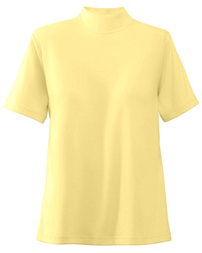 UltraSofts Cotton-Polyester Mock Top, Butter, Large