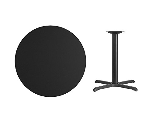 Flash Furniture 36'' Round Black Laminate Table Top with 30'' x 30'' Table Height Base 36' Bar Height Table