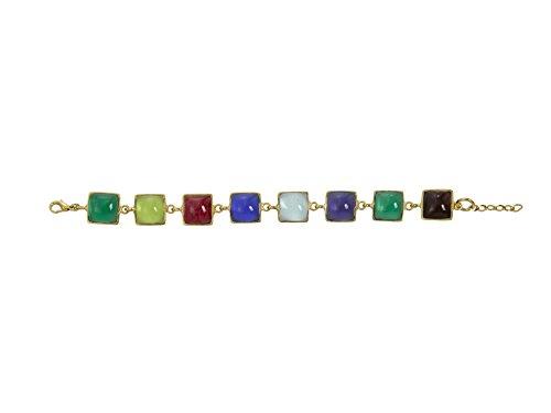 Gripoix Paris Bracelet Plaqué Or Carré Verre Multicolore Femme