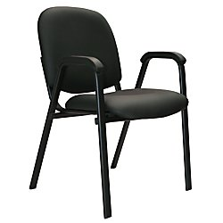 Office-Stor PLUS Stacking Bonded Leather Guest Chair With Arms, 33 1/4in.H x 22 1/2in.W x 24 1/4in.D, Black
