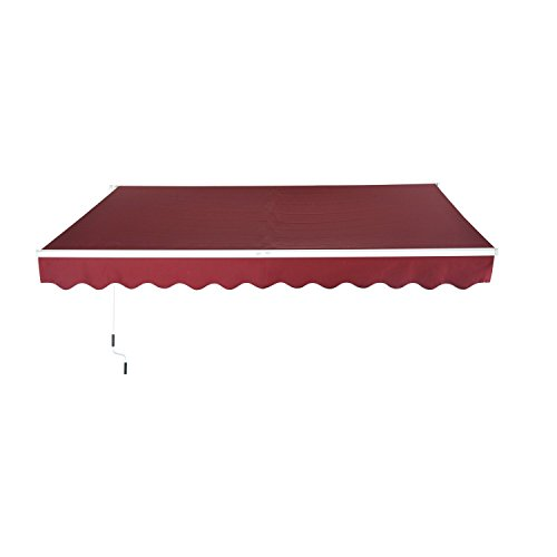 Outsunny 13'X8' Manual Retractable Patio Sun Shade Awning - Wine Red