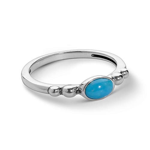 .925 Sterling Silver Oval Blue Turquoise Stacking Ring - Size ()