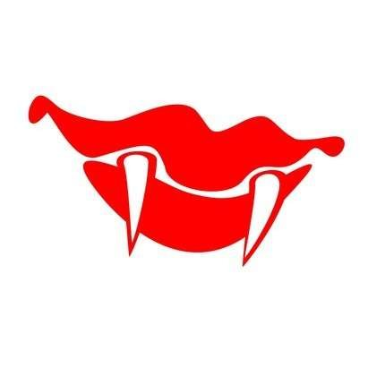 Beautiful Red Vampire Lips Vinyl Decal Sticker|Cars Trucks Vans Walls Laptops|RED|5.5 In|KCD529