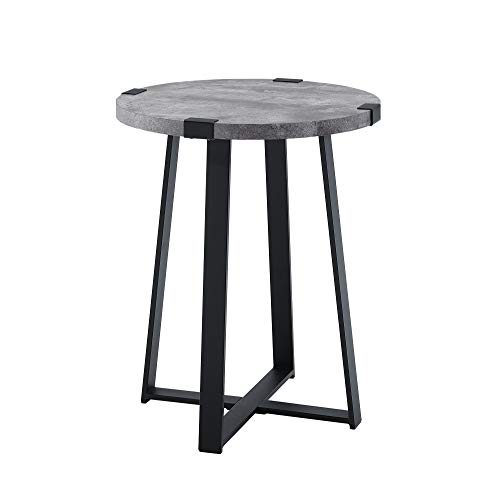 Stone Accent Table - WE Furniture AZF18MWSTDC Side Table, 18