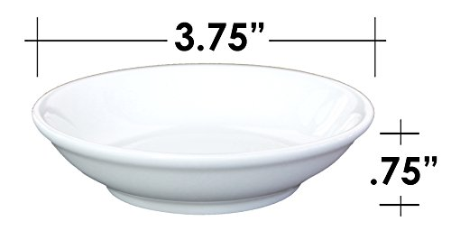 Ceramic Side Sauce Dish and Pan Scraper, 3.75 Inch, 3 Ounce, Bone White, 12-Pack by MBW NW Brands (Image #3)