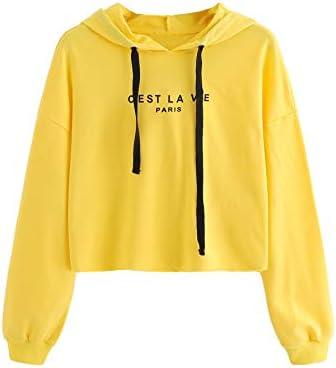 SweatyRocks Women's Letter Print Casual Long Sleeve Crop Top Sweatshirt Hoodies