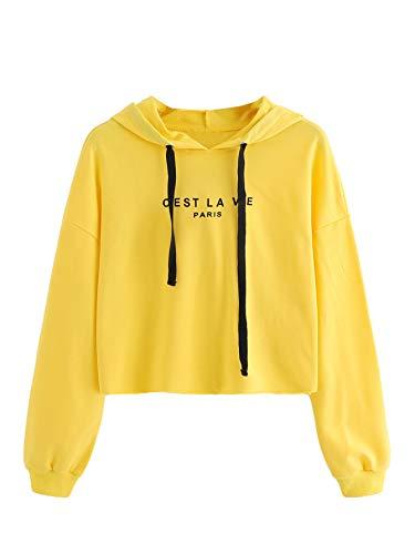 (SweatyRocks Women's Letter Print Long Sleeve Crop Top Sweatshirt Hoodies (Medium, Yellow))