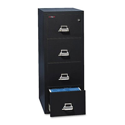 Four-Drawer Vertical File, 20-13/16w x 25d, UL 350 for Fire, Legal, Black, Sold as 1 Each