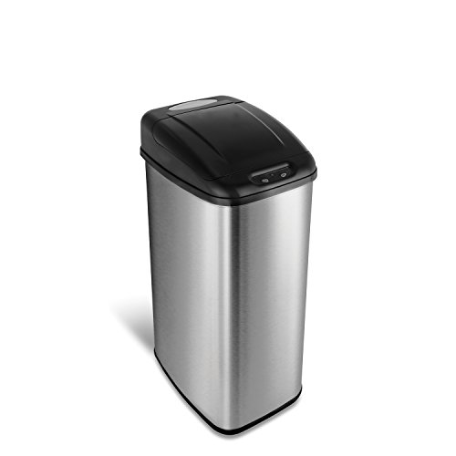 NINESTARS DZT-50-6 Automatic Touchless Infrared Motion Sensor Trash Can, 13 Gal 50L, Stainless Steel Base (Rectangular, Black ()