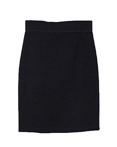 Uni Moulant Crayon Casual Bodycon Haute en Confortable Style Jupe Midi OL Taille Elastique Noir Femme Runyue Jupe qCXABwWntw
