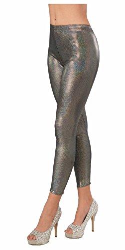 Futuristic Robot Costume (Womens Metallic Silver Futuristic Leggings Sexy Space Robot Costume Accessory)