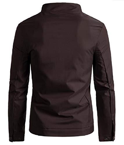 Jacket Men's Lightweight Stand Full Collar Coffee Windbreaker Bomber security Zip Sxq1Txw