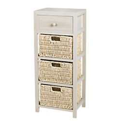 Realspace(R) Wood Wicker Storage Cabinet, 4 Drawers, Distressed Gray