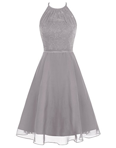 Wedtrend Women's Short Halter Lace Bridesmaid Dress Hollow Back Homecoming Dress WT12087Grey 4 ()