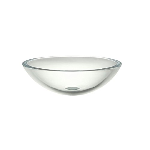 DECOLAV 1019T-TCR Anani Translucence Round 19mm Tempered Glass Vessel Sink, Transparent Crystal Crystal Tempered Glass Vessel