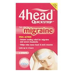 4HEAD QUICKSTRIP HEADACHE AND MIGRAINE RELIEF STRIPS - PACK OF 4 STRIPS