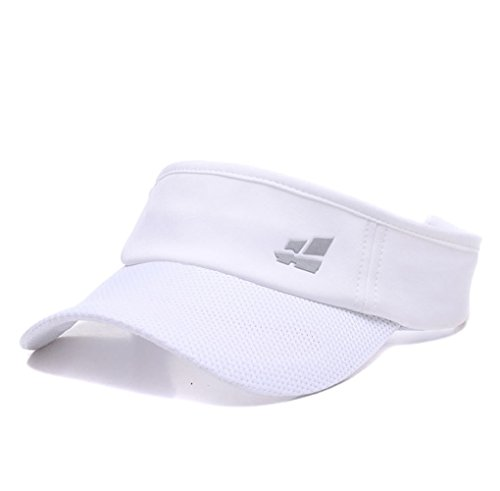 Sun Visors,Premium Sports Tennis Golf Running Hat, Mesh Adjustable Cap (White) ()