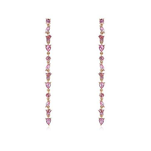 Quietcloud Fashion Women Long Pink Rhinestone Tassel Linear Earrings Bridal Jewelry Beach Party ()