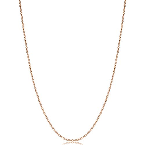 Kooljewelry Rose Gold Plated Sterling Silver Round Cable Chain Necklace (1.2 mm, 24 - Plated Gold 24 Inch