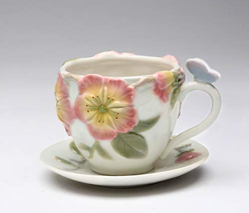 - Fine Porcelain Butterfly with Apple Blossom Design Cup and Saucer Set (Set of 4, 2 cups & 2 saucers), Cup 3