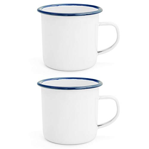 - Argon Tableware Traditional Enamel White Tea/Coffee Mugs - 380ml - Blue Trim - Set of 2