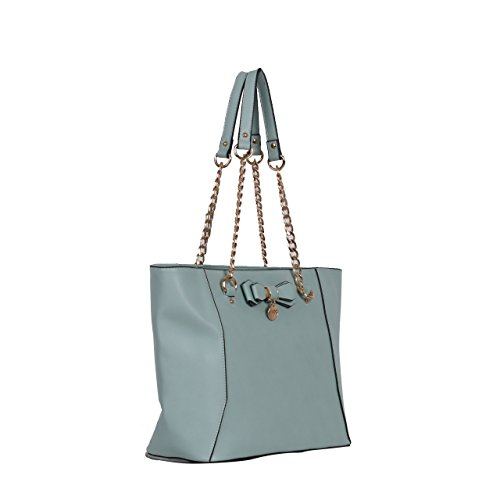 Bucket Detail E15 Blue Light Double Handbags Faux Ladies Bow Womens Leather Shopper Chain Handle Fashion Shoulder qB841Tw0
