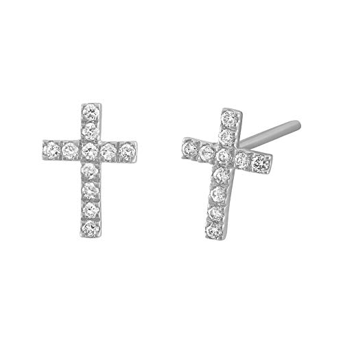 - Olivia Paris 14k White Yellow or Rose Gold Diamond Cross Earrings (0.15 cttw, H-I, SI2-I1) (white-gold)