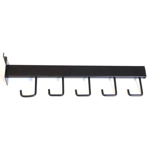 Count of 100 Retail Black Rectangular Tube 5-hook Slatwall Faceout