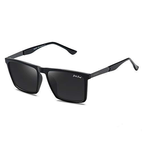 GREY JACK TR90 Material Polarized UV400 Protected Rectangular Sunglasses for Men Women 1324
