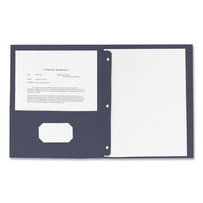 Business Source Two Pocket Folder - Letter - 8.5amp;quot; x 11amp;quot; - 3 Fastener - 100 Sheet - 0.5amp;quot; Capacity - 25 / Box - Dark Blue (Business Source Two Pocket Folder)