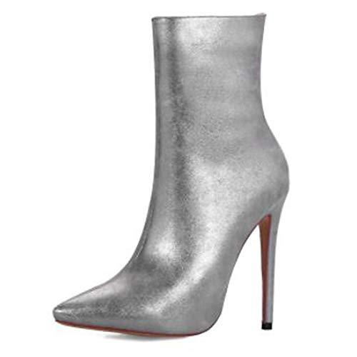 ZHZNVX Frauen Frauen Frauen PU Spring & amp; Herbst Stiefeletten Stiletto Heel Spitz Toe Stiefelies Stiefeletten Gold Braun   Silber Party & Abend c67873