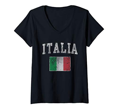 (Womens Vintage Italia Italian Flag Italy Italiano V-Neck T-Shirt)