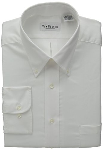 Van Heusen Regular Fit Twill Solid Button Down Collar Dress Shirt, White, X-Large (Shirt Wrinkle Free Van Dress Heusen)