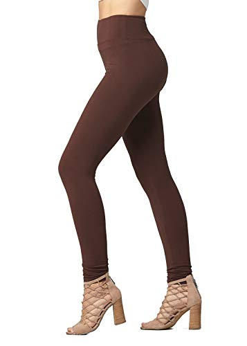 Elastic Waist Stretch Leggings - Soft High Waisted Leggings for Women - Full Length True Brown - Large/X-Large (12-22) - Plus