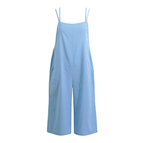 Women Loose Suspender Trousers Solid Color Casual Overalls Jumpsuit Female Wide by Rainlife jumpsuits