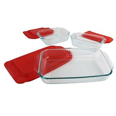 Pyrex 3-qt Sculpted Oblong Dish w/ Red Lid