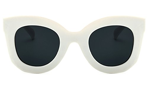 Butterfly Sunglasses Semi Cat Eye Glasses Plastic Frame Clear Gradient Lenses (White, ()