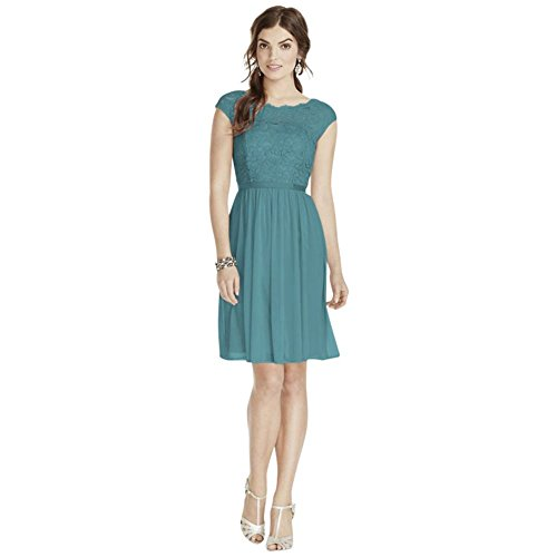 Blue Clothing Illusion - Short Lace and Mesh Bridesmaid Dress with Illusion Neckline Style F17019, Teal Blue, 4