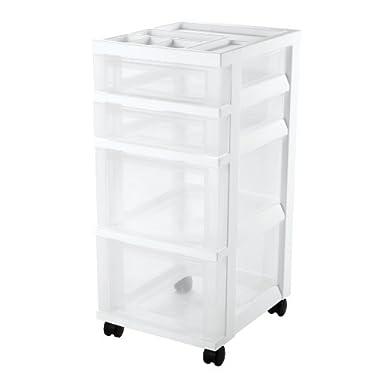 4-Drawer Storage Cart with Organizer Top, White